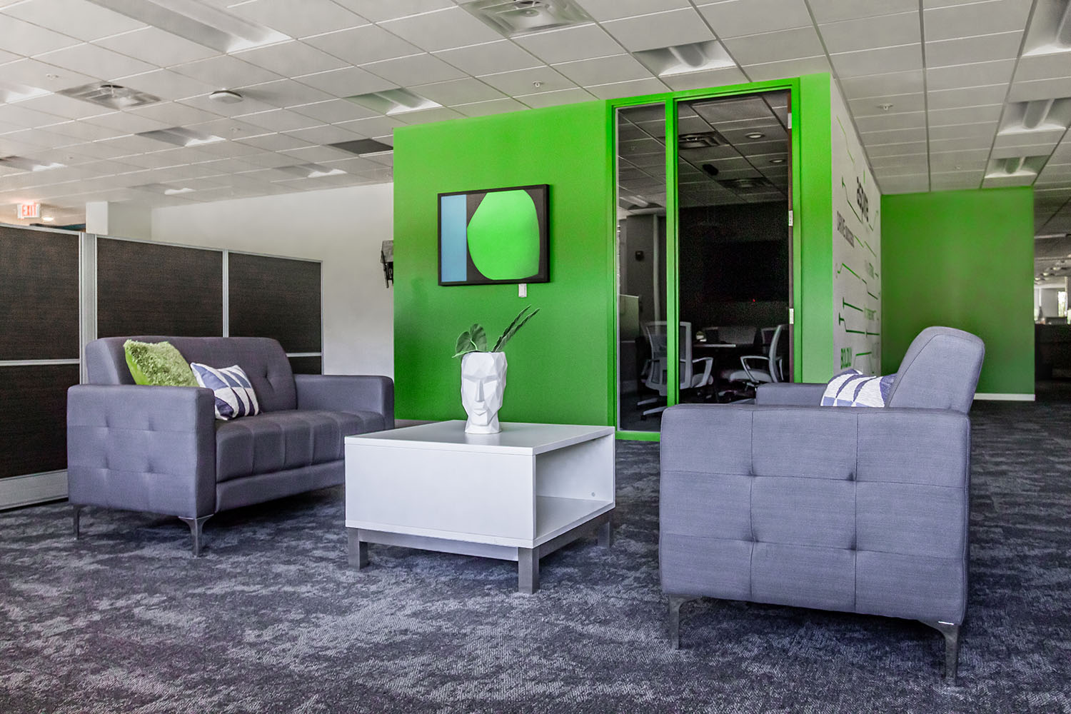 Two couches facing each other in Aspire's office