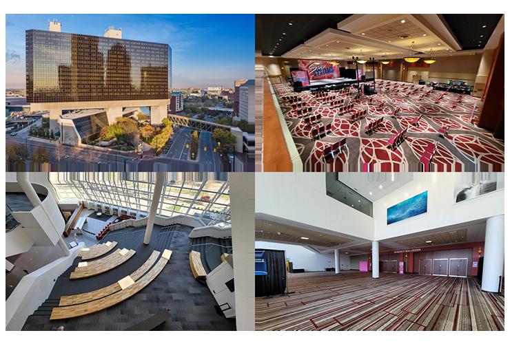 Four images of the Hyatt Regency hotel in Columbus
