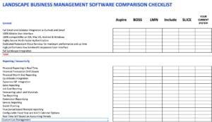 Landscape Business Management Software Comparison Checklist